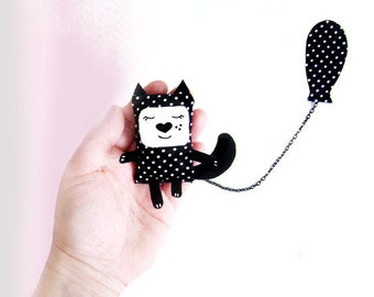 Black Cat Brooch,  Cat Jewelry, Plush Cat, Hipster Jewelry, Fabric Brooch, Polkadots, Balloons, Animals