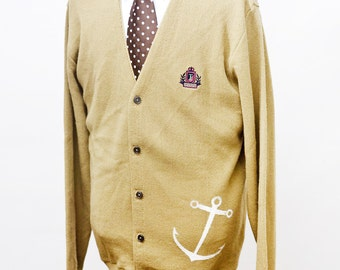 Large Upcycled Vintage Izod Caridgan with Screen Printed Anchor