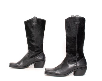 size 9 COWHIDE black leather 80s 90s WESTERN ankle boots
