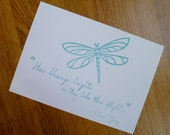 Dragonfly Blessings - Edward Young Quote - Single 5x7 Notecard