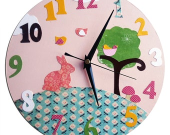 Rabbit Clock / Children's Bunny Wall Clock / Girls Nursery Decor  - Pink
