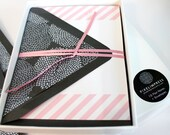 SALE!! 50% OFF Boxed Stationery Set - Pink Striped Notes / Slate Envelopes lined with Silver Foiled Mum Paper - (10) flat notes