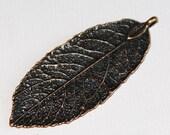 4 pcs of Antique Copper leaf pendant 20x50mm