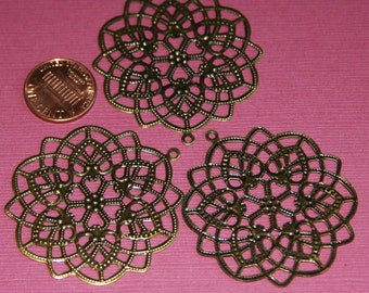 A pair of Antiqued Brass over steel filigree flower drop 45mm