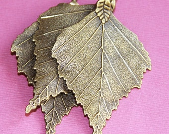 4 pcs of double sided Antique brass leaf pendant 45x70mm