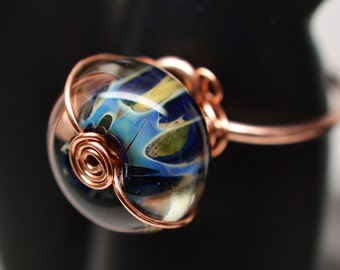 Copper & large boro glass bead wire-wrapped ring
