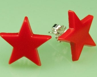 Vintage Glass Red Star Post Earrings