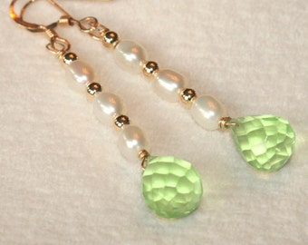 Green Quartz Earrings, Freshwater Pearl Stick Earrings, 14k Gold Fill Dangle Earrings, Spring Earrings, Green Earrings Maggie McMane Designs