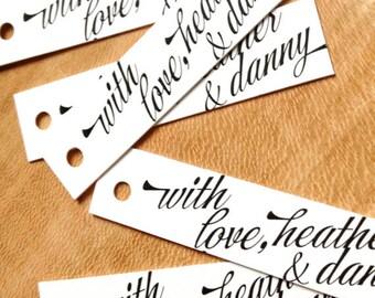 Calligraphic Slim Style Wedding Favor Tags - Gift Tags - Kraft Brown Wedding Gift Tags - Thank you tags - Cake pop Hang tags - Set of 50