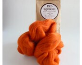 Deep orange merino roving, 25g (1oz) Red Squirrel, 21 micron, merino roving,  merino tops, felting wool, needle felting, wet felting