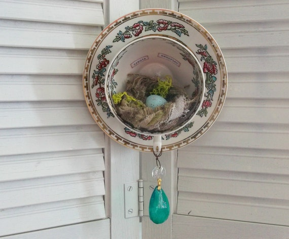 Upcycled Recycled Vintage Hand Painted Oriental Teacup Saucer Bird Nest Eggs Inspirational Words Altered Art Wall Decor Rustic Farm House