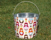 Cute Matryoshka Dolls Galvanized Metal Jr. Bucket