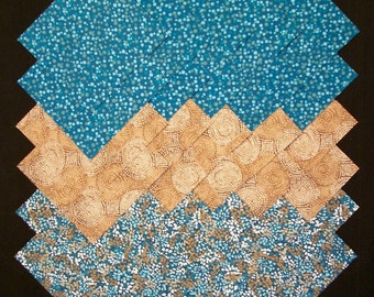 Teal & Brown 100% cotton Prewashed 5 inch Quilt Fabric Squares (#F/112A)