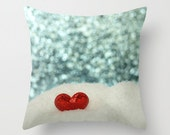I Heart You Pillow Cover Heart In The Snow Blue Sky Sweet Love Pillow Valentines Day Red Heart Blue Bokeh Love Blue