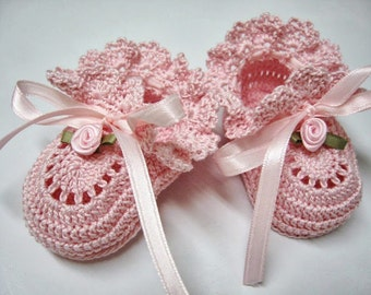 Crochet Baby Booties  Pink Roses Newborn Baby Girl or Reborn Doll