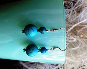 Holodite and Glass Orb Earrings