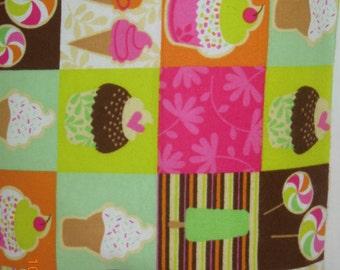 Cupcake/Ice Cream Treats/Birthday Flannel Travel/Toddler Size Pillowcase