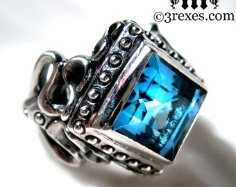 Raven Love Silver Wedding Ring Victorian Gothic Engagement Band Blue Topaz Cocktail Ring Size 8