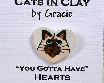 Siamese / Himalayan Style Cat Heart Pin Handmade In Clay by Grace M Smith