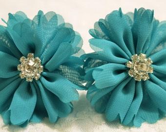 Set of 2pcs handmade chiffon flowers--turquoise (FB1018)