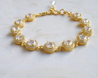 Bridal Bracelet CZ Gold Halo CNB4PGold
