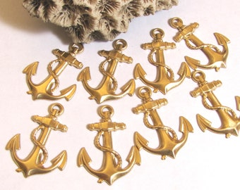 Anchor stamping, with hole, nice detail brass, 8 pack, nautical anchor, sailor boating, light weight, 1 3/8 x 1 inch