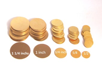 24 gauge brass discs you choose the  size from drop down menu