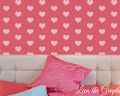 Heart Shaped Wall Decals - Set of 200 Vinyl decals with 45 Color Options for Nursery or Kid Room Decor
