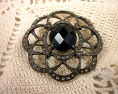 Monet Silver And Rhinestone Brooch / Marcasite Pin / 1950's / Silver Brooch / Black Crystal Pin / Silver and Black Pin