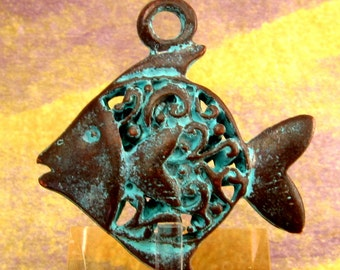 Mykonos Fancy Fish Pendant, Green Patina M238