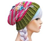 Slouch Beanie Striped Pink Grey and Olive Green with Shabby Textiles