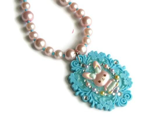 Bunny Cameo Necklace, Fairy Kei, Kawaii Pastel Rabbit Jewelry