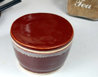 French Butter Crock in Red Agate - Made to Order