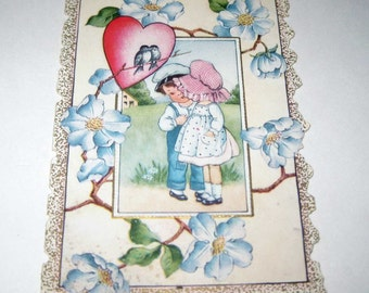 Vintage Whitney Made Fancy Antique Valentine Greeting Card with Little Boy and Girl Blue Flowers Birds Heart
