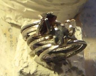 Made to Order Natural Gemstone Stacking Ring your choice of Stone Tanzanite Garnet Herkimer Diamond Peridot Pink spinel Ruby
