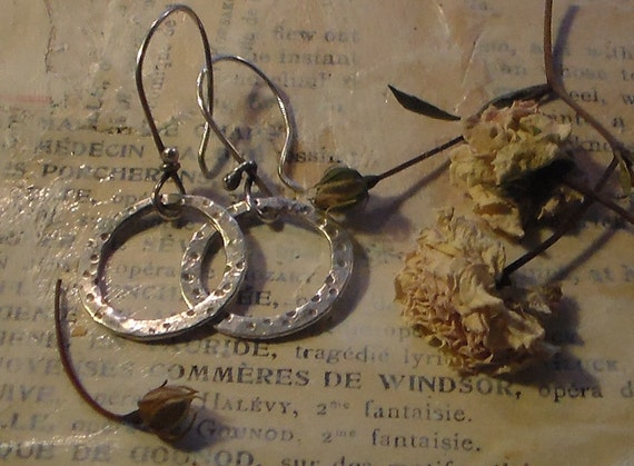 Dimpled Sterling Hoops small