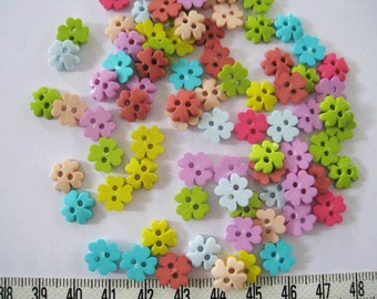 80pcs of Four Petal Flower  Button in Classic  Colors Pink Blue Green Yellow Purple Brown - 10mm