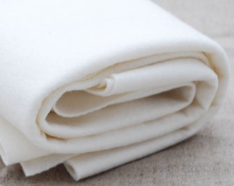 "100% Wool Felt Fabric - 63"" (160cm) x 1/2 yard (46cm) - 1mm Thick - Made in Western Europe - Ivory White"