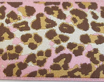 2 yards  LEOPARD Jacquard trim in pink, brown, beige and white. 1 1/2 inch wide. 968-B