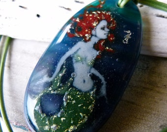 Mermaid and seahorse necklace - fused glass jewelry - fused glass pendant
