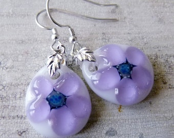 Flowers  - fused glass earrings