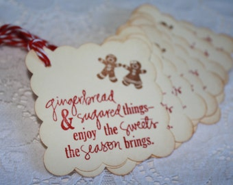 Handmade Gift Tags - Gingerbread man - Christmas Goodies Homemade with Love