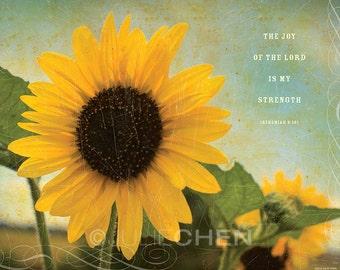 Bible Verse - Christian Gift - Scripture Wall Art - Inspirational Art - Christian Art - Sunflower Art - The Joy of the Lord - Nehemiah 8 Art
