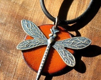 Enamel Jewelry, Dragonfly Pendant Necklace, Persimmon Orange