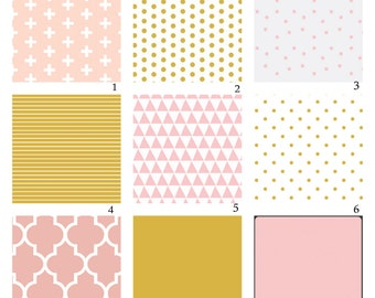 Custom Crib Bedding-3 piece-Pink and Gold