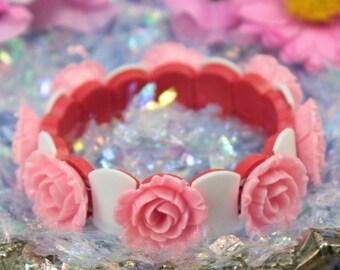 Pink Carnation Flower Bracelet - 203-4-1204 -BR