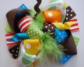NEW boutique M2M Mudpie TURKEY funky fun bow on clip or headband