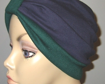 2-Tone Navy and Green   Knit Turban, Chemo Hat, Snood, Womens Hat