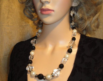 Necklace Set with mix of vintage white faux pearls, faceted glass and clear beads, Black and Silver single strand, Dangle pierced earrings