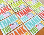 Thank you cards with bold modern typography, DIGITAL FILE